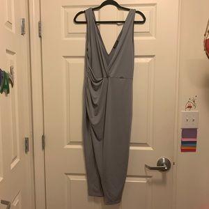 Grey draped midi dress